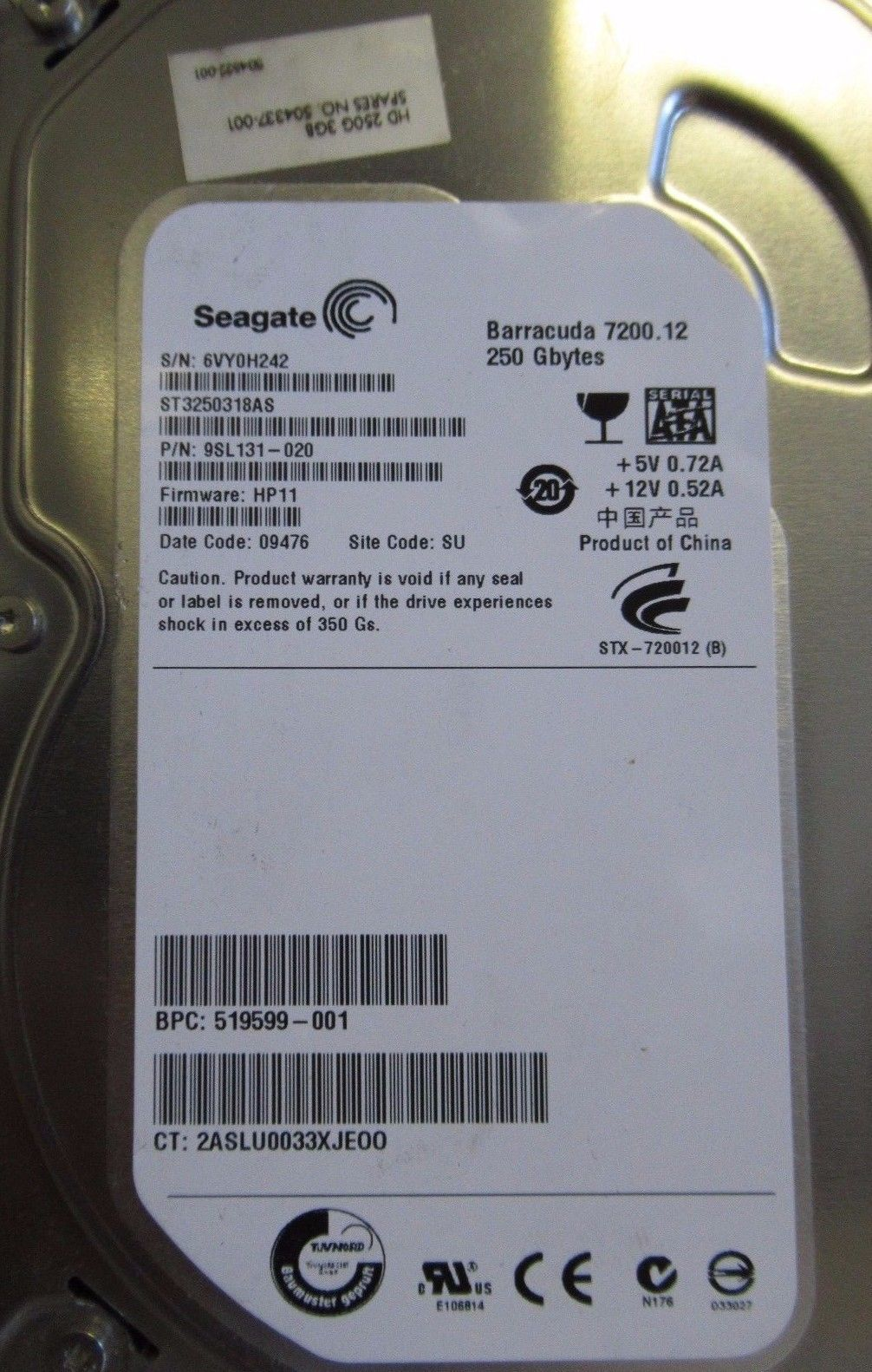 Seagate St350318as 9sl131 020 Barracuda 250gb 7200 Rpm Sata Hard Drive Hardisk Pc 250 Gb
